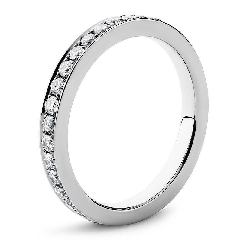 Bridal Anniversary Dainty Ring Band Delicate Full Eternity Moissanite Wedding Band In 10K14K18K WhiteYellowRose Solid Gold /& Silver