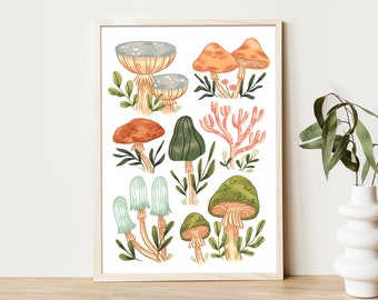 Mushrooms - vol.3   Art Print   Wall Art   A4 / A5 / A6 Print   Home Decoration   Illustration