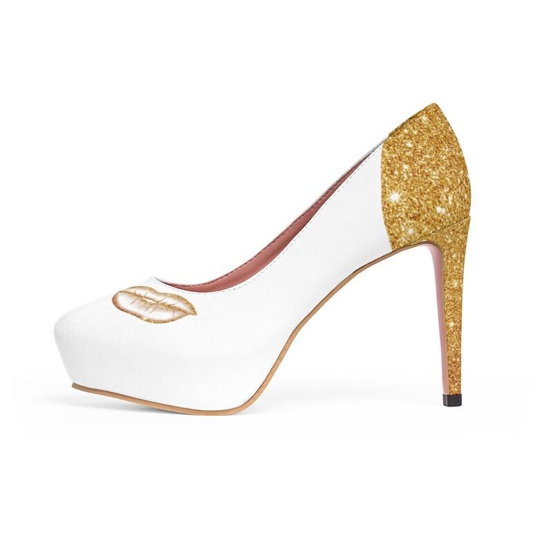 Gold glitter High Heels kiss shoes