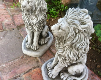 Stone lion garden ornament statue majestic square style plinth base king beast