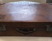 Antique 1900s Monogrammed Leather Suitcase