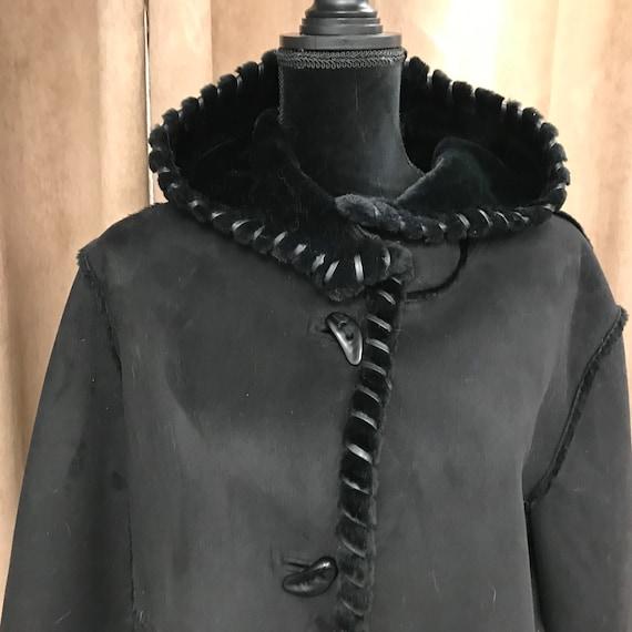 Women's Black Coat-Synthetic Fur Coat- Women's Coa