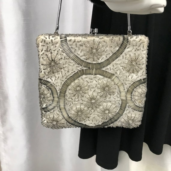 Vintage white handbag, handbag with white and grey