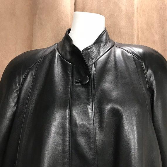 Vintage real leather coat, black leather coat, lon