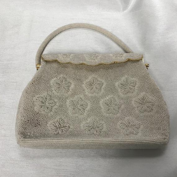 White vintage handbag, beaded bag, white hand-worn