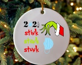 Funny Stink Stank Stunk Mask with Grinch Arm 2021 Essential Christmas Ornament Gift, Funny Christmas Gift Friend Office Party Gift Ornament