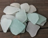 Genuine Surf Tumbled Sea Glass, Bulk Beach Glass Set 20 pieces Real SeaGlass Frosted White Aqua Sea Foam Sea Glass Jewelry Decor FREE SHIP