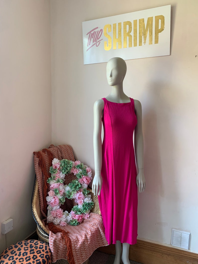 XS 6 8-90s 80s Formal Cross Over Back Dress DJ /& Co VINTAGE 1980s 1990s Hot Pink Strappy Midi Maxi Dress