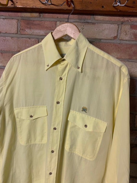 collared 1980s 1990s vintage short sleeve button up blouse 80s butter yellow silk shirt with patch pockets unisex minimalist small
