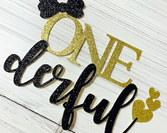 ONEderful For Girl - Gold Glitter Cake Topper // Baby's First Birthday, Cake Topper, First Birthday Theme, Bow, Hearts