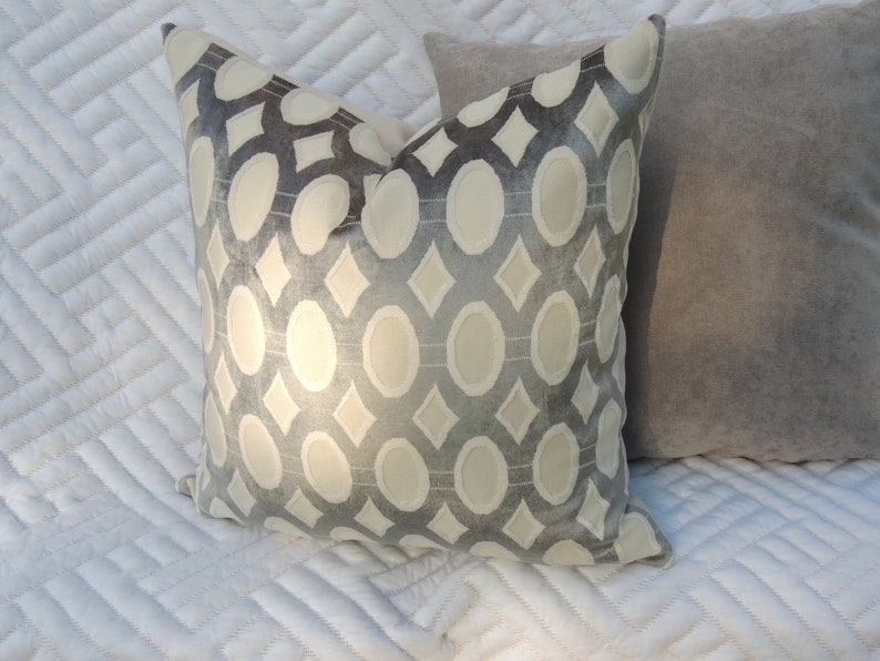 Grey and Cream Throw Pillow Home Decor Decorative Pillow image 0