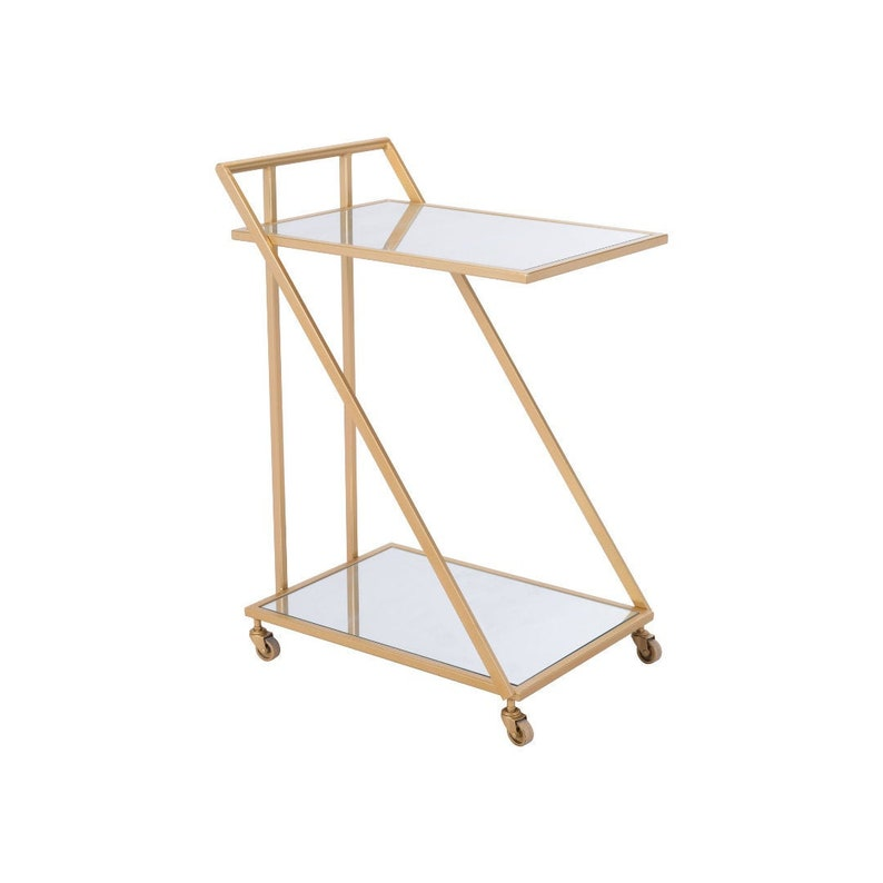 Alto Gold & Mirrored Bar Cart on Wheels image 0