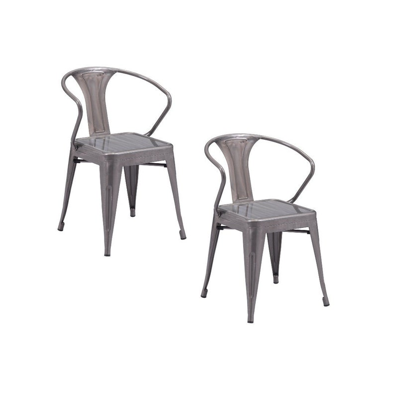 Helix Dining Chair Set of 2 Gunmetal Silver Chrome  Arm image 0