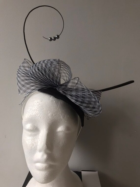 races prom Navy blue with hanging pearls fascinator on a clip for weddings