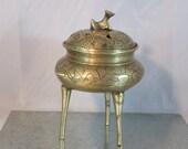 Brass Chinese Incense Burner, Censer Bowl, Etched Brass Tripod Incense Jar, Foo Dog