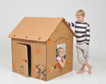 Cardboard house with contours