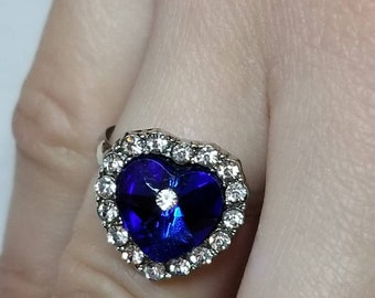 STERLING SILVER ALOHA SOLITARE MARCASITE WITH PURPLE STONE PROMISE RING SIZE 7
