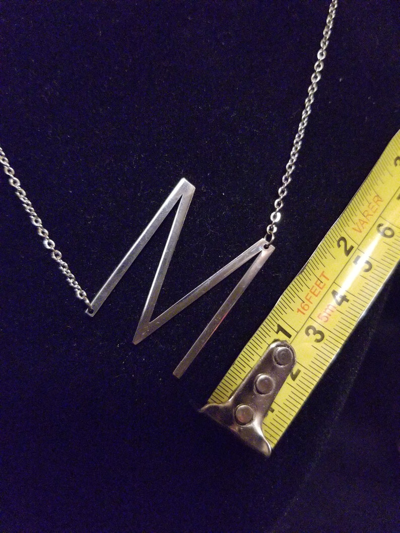 Alphabet initial large oversized M sideways letter  100/% stainless steel silver necklace