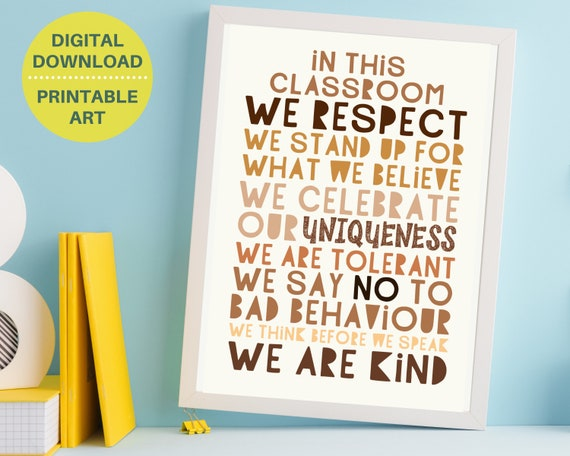 Classroom diversity poster, classroom decor print, kids inclusion and equality print, We Are Kind art, educational print, digital download