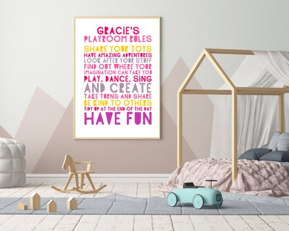 PRINTABLE playroom rules sign, custom gift for girl, girls personalized playroom wall art, play room décor, kids room décor, playroom poster