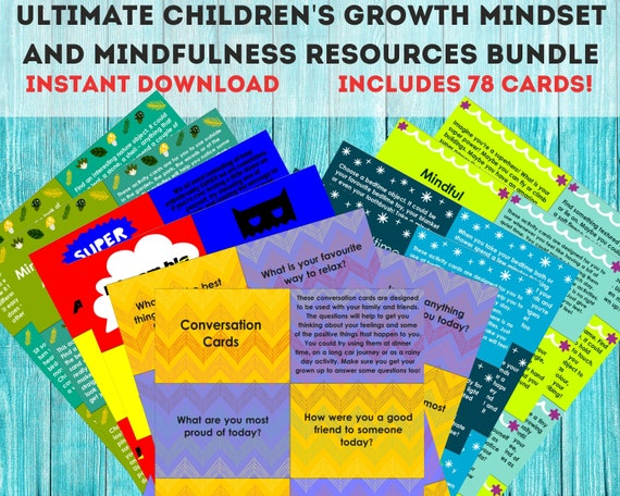 Homeschool self care activities, kids PRINTABLE care package, educational printables, mindfulness cards, affirmations, conversation starters