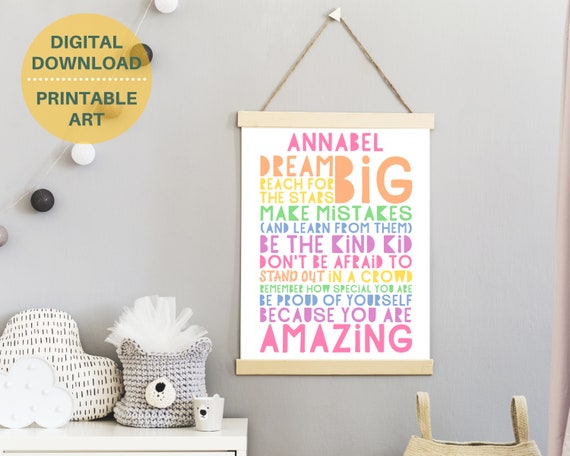 Dream Big personalized poster, PRINTABLE girls wall art, pastel teen room decor, teen girl inspirational poster, girls positive quote art