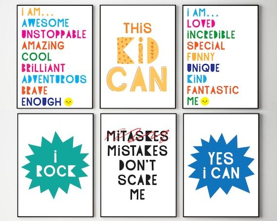 Set of 6 classroom posters, kids educational art, classroom decor, grade school wall prints, self esteem quotes art, DIGITAL DOWNLOAD