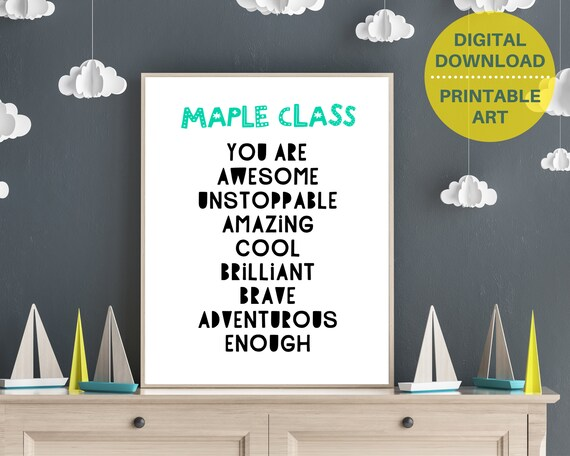 Personalized YOU ARE ENOUGH kids wall print poster, school leavers gift, kids room decor, custom wall art, motivational poster. Digital art