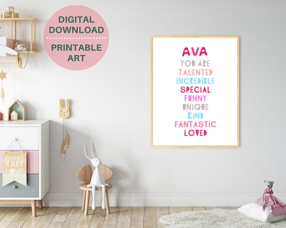 Personalized YOU ARE LOVED wall print, gift for girl, pink kids room decor, custom kids name print, motivational poster. Digital download