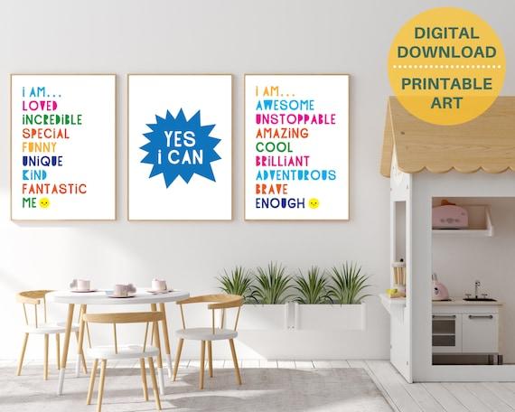 Set of 3 motivational word art prints, kids positive affirmation posters, positivity classroom decor, kids art bundle, DIGITAL DOWNLOAD