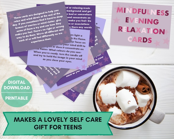 Evening mindfulness cards, stress relief, cards for teens, mindful printable, teens care package, teen self care, mindfulness gift, anxiety