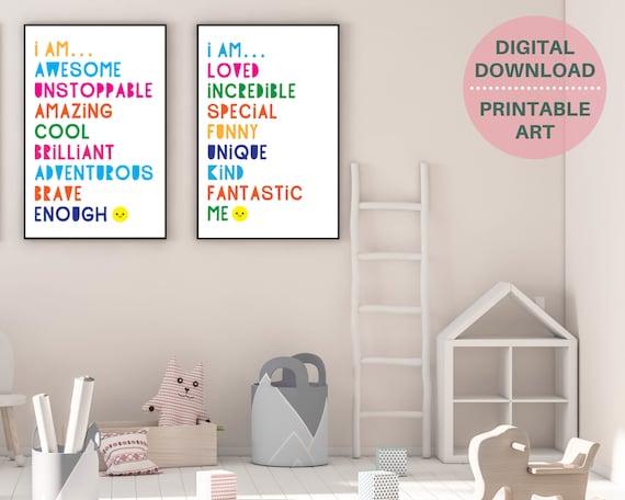 DIGITAL DOWNLOAD set of 2 motivational printable wall art posters, kids positive affirmation art, kids room decor, rainbow word art posters