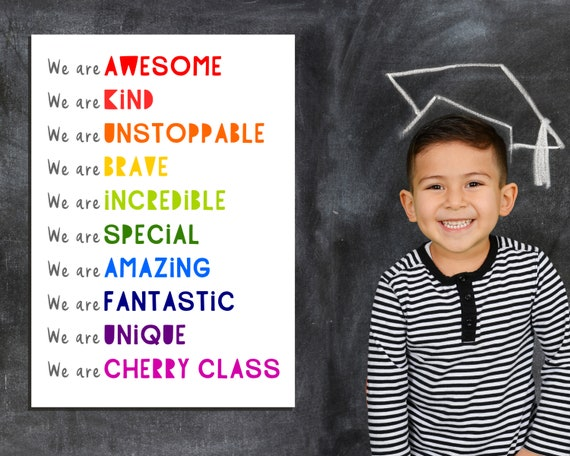classroom affirmations poster, daily affirmations for kids, PRINTABLE classroom decor, rainbow classroom, school poster, positive art