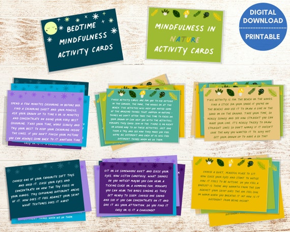 Mindfulness for kids, relaxation cards, mindful kids activity set, bedtime routine, nature cards, kids anxiety relief, wellbeing, PRINTABLE