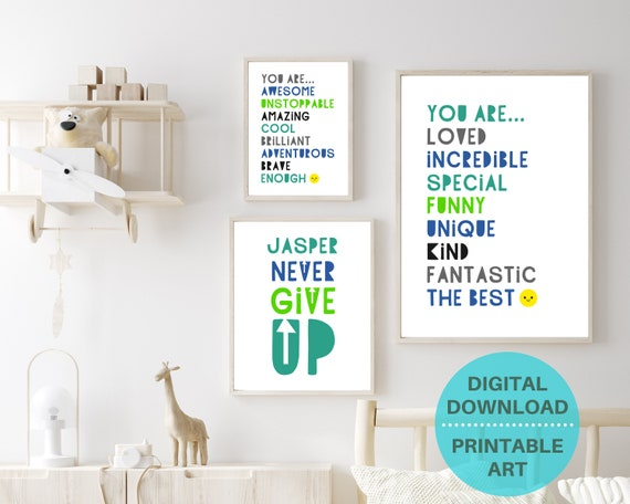 Boys motivational wall art, gift for boy, personalized gifts, boys wall decor, kid prints bundle, kids gallery wall, DIGITAL DOWNLOAD