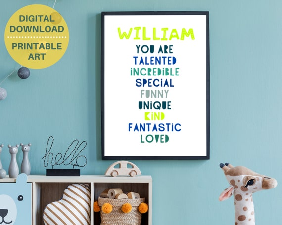 PRIINTABLE You Are Loved boys wall print poster, gift for boy, personalized boys room decor, custom kids wall art, boys encouragement poster