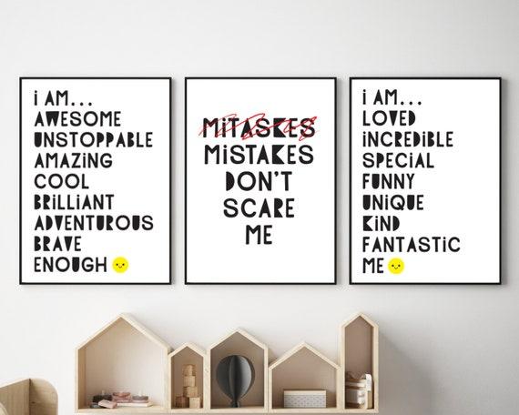 Positive printable art, kids classroom posters, homeschool decor, educational wall art, downloadable prints for kid, monochrome wall decor