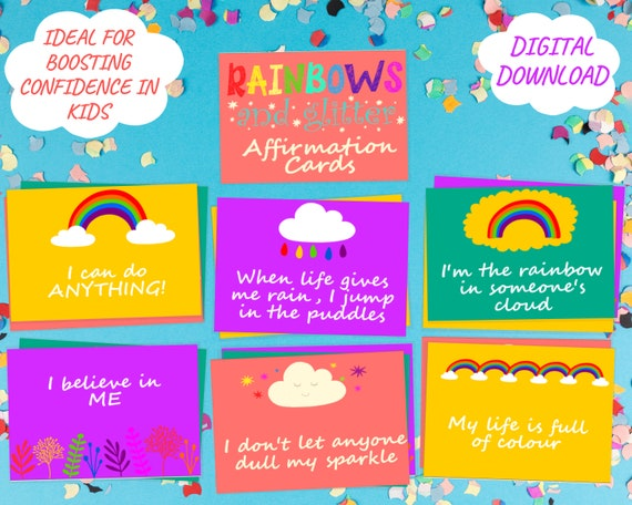 Rainbow affirmation card set for kids, childrens positive affirmation cards, gift for kids, printable well-being activity, INSTANT DOWNLOAD