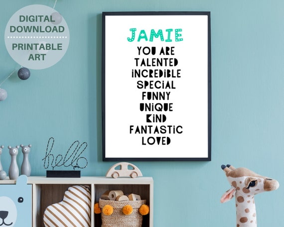 Personalized YOU ARE LOVED kids wall print poster, monochrome kids room decor, custom kids name sign, affirmation art. Digital download