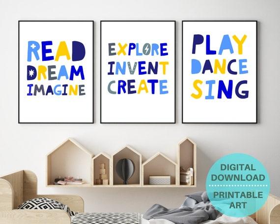 Homeschool decor, printable posters, boys room prints, kids playroom decor, boys printable wall art set, boys positive word art, classroom