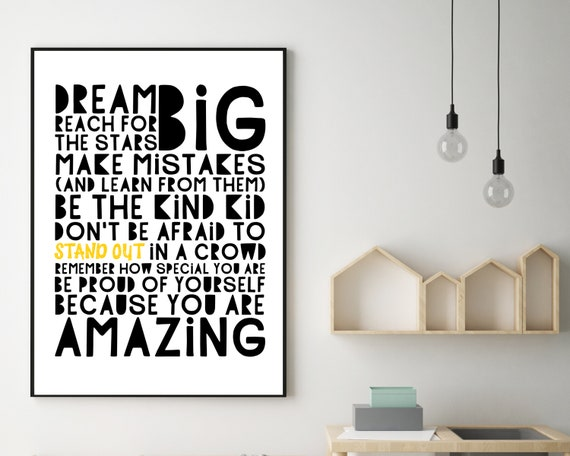 PRINTABLE encouragement quote poster, gift for teen, teen black and white room decor, teens inspirational quote print, positive wall art