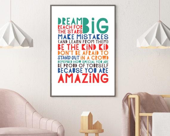 PRINTABLE Dream Big word art poster, teens positive wall art, teen room decor, teen tween inspirational poster, unisex positive quote art