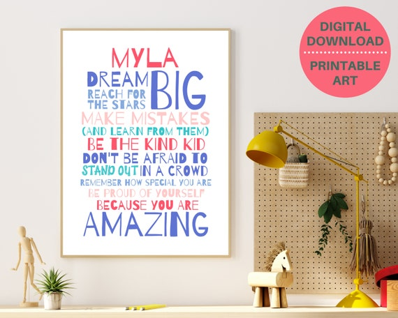 Personalized affirmation quote art, graduation gift, PRINTABLE motivational poster, teen room decor, teen girls wall decor, self care gift