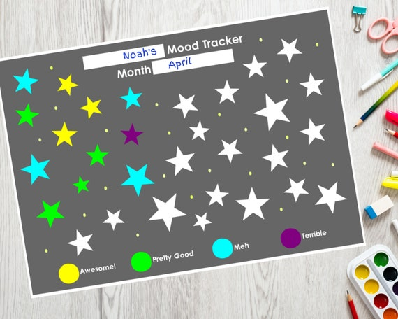 PRINTABLE mood tracker, self care activity for children, kids daily tracker, star printable colouring sheet, kids mood tracking activity