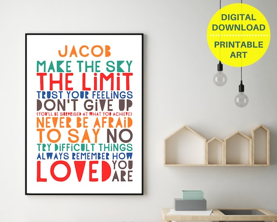 Don't Give Up custom print, personalized gift for teen boy, teen room decor, teen boy inspirational art, boys positive quote art, PRINTABLE