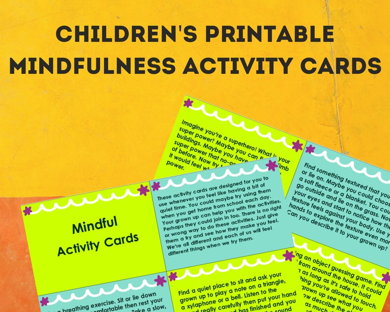 Mindfulness activities for kids, children's mindfulness cards, mindfulness  activity cards, kids mindful teaching materials, INSTANT DOWNLOAD