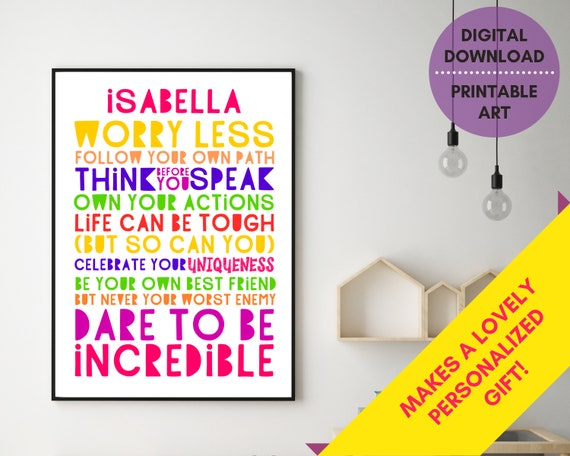 PRINTABLE Be Incredible personalized poster, custom girls wall art, teen room decor, teen girl inspirational poster, girl positive quote art