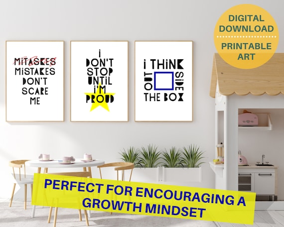 Kids educational posters, classroom growth mindset quote digital poster prints, motivational wall art for kids, classroom decor, PRINTABLE