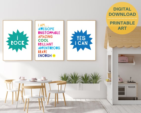 PRINTABLE homeschool decor poster set, kids motivational art, classroom posters, positive wall art, encouragement art, educational posters