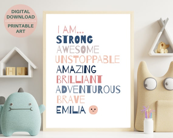 Daily affirmations print, personalized affirmations for girl, teen girl affirmation art, I am strong, I am brave, teen room decor, PRINTABLE